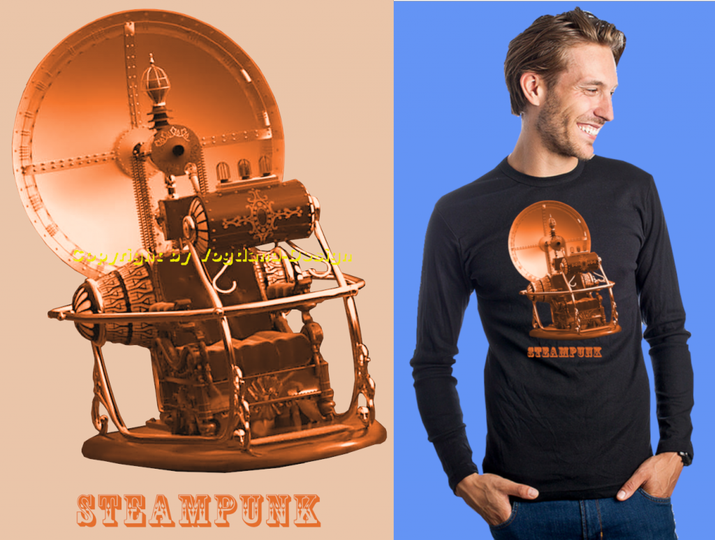 Steampunk_Zeitmaschine_auf_orange_Shirt